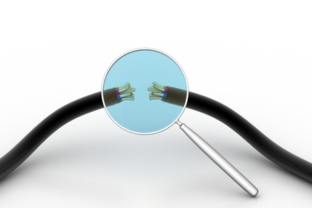 Electric cable with magnifier Stock Photo