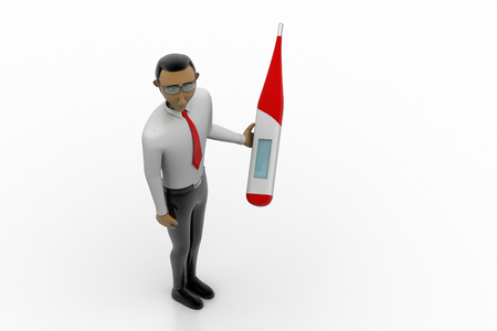 Man with digital thermometer Stock Photo
