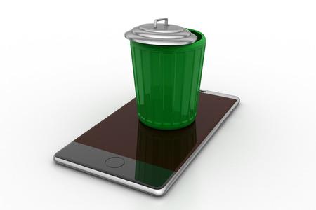 Moderner Handy im Papierkorb Standard-Bild - 89485520