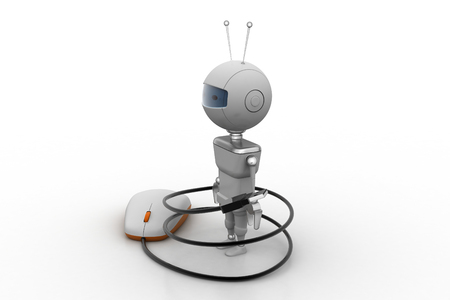 eye ball: Computer mouse rounded  with robot