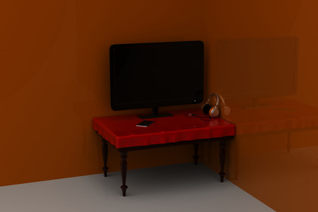 Lcd tv on the table
