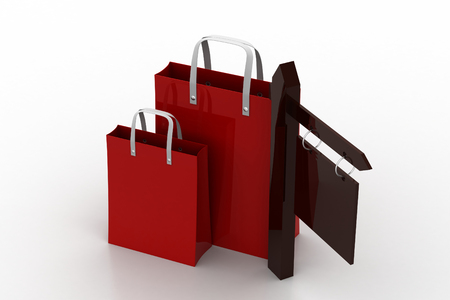 Direction arrow with shopping bag Stock Photo