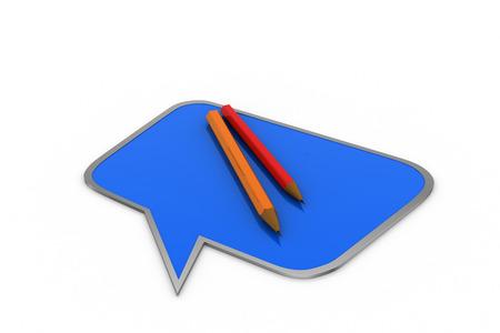 cognicion: Chat burbuja con lápiz Foto de archivo