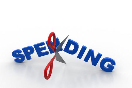 Scissor cut the word spending