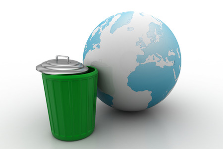 earth globe with trash can