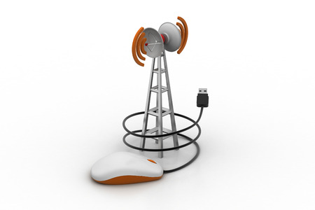 Signal tower connected with computer mouse