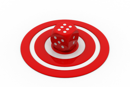 Target with dice Stock Photo