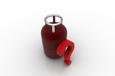 Biogas cylinder with question mark