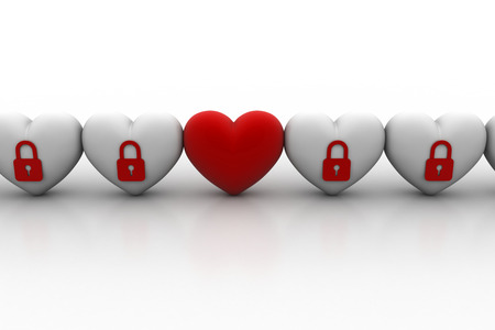 Heart with security sign Stock Photo