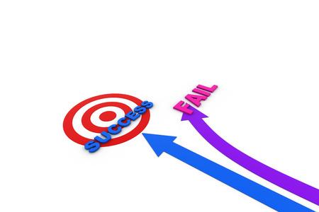 dartboard: Success arrow going on target board