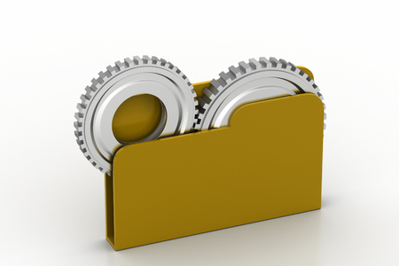 File folder with gear