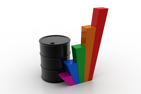 Oil barrel with growth graph