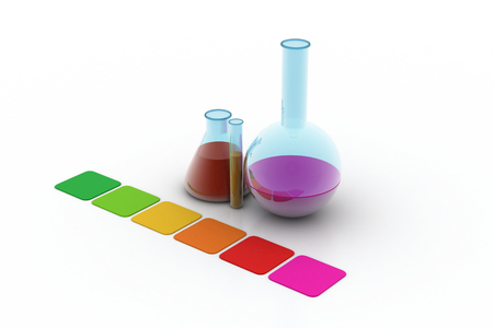 laboratory flasks and test tube with color paper
