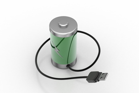 Re chargeable battery with cord wire Stock Photo