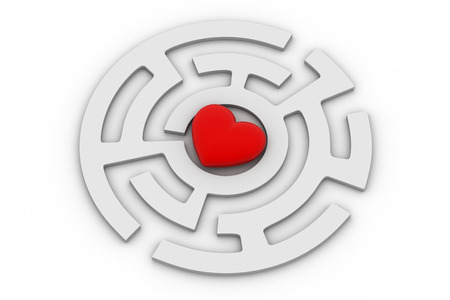 Red heart into labyrinth Stock Photo