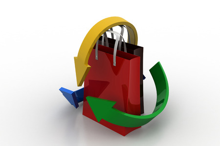 shopping chart: Shopping bag with arrows