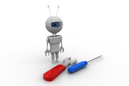 3d robot with screwdriver