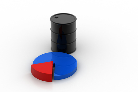 Oil barrel with pie chart