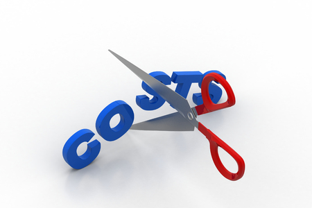 Scissor cut the word cost