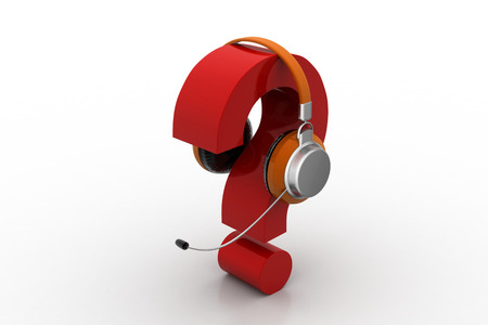 Question mark in headphones. on-line support concept Stock Photo