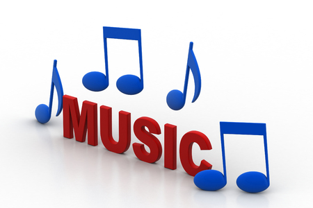 Music text with icon Stock Photo