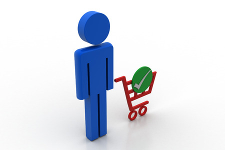 3d man with shopping cart icon