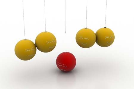 The centre ball fall in down from the hanging ball