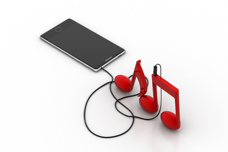 Smart phone with music signs Stock Photo