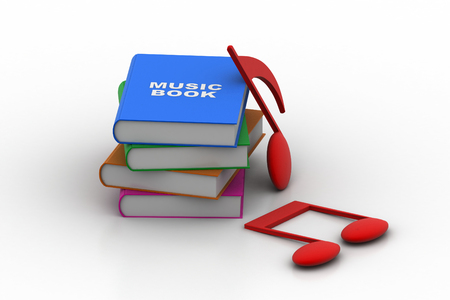 audio book: Music sign with book Stock Photo