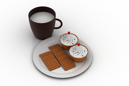 Cup cake with milk and biscuits Stock Photo