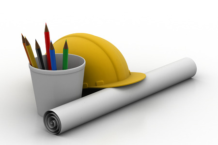 Construction cap with drawings