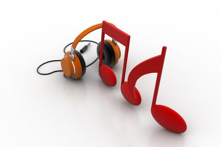 Señales de música con la cabeza del teléfono Foto de archivo