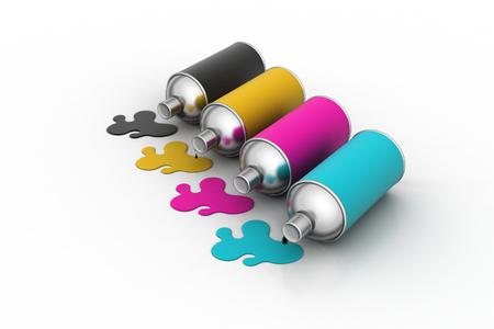 Cmyk color Paint bottles