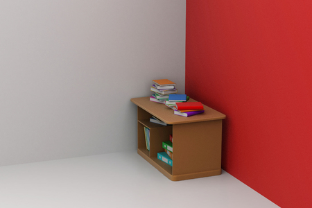 Study table with books