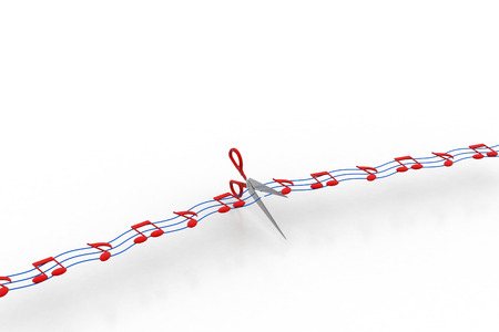 Scissor cutting the musical notes