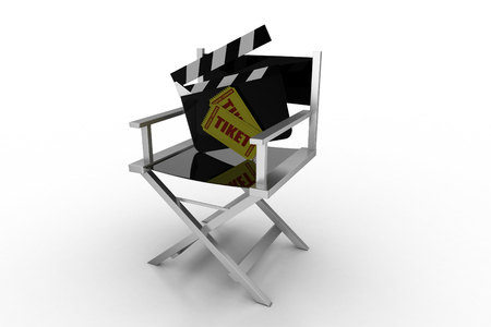 filmmaker: directors chair with clap board and ticket Stock Photo