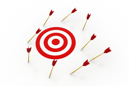 Arrows hitting out of the target Stock Photo