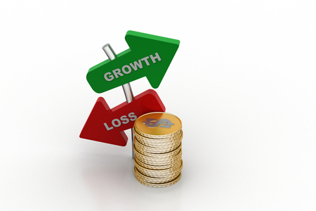 Growth and loss arrow with gold coins