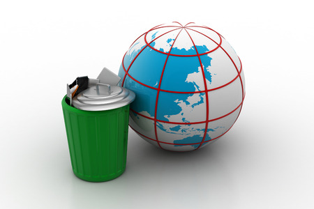 Electronic waste with globe