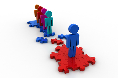 conquering adversity: 3d people with puzzle piece