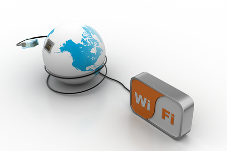 Globe connect with wifi Stock Photo