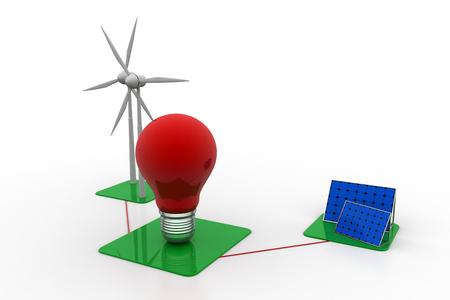 solar energy panels and wind turbine Stock Photo