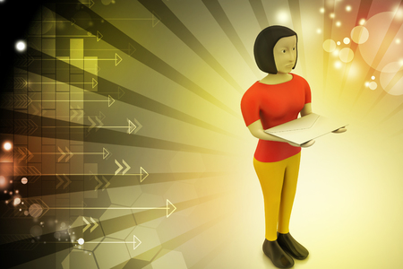 3d woman with e mail Stock Photo