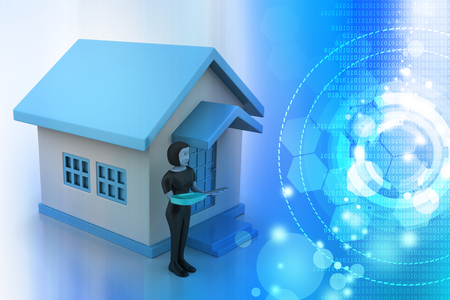 3d women with home and key