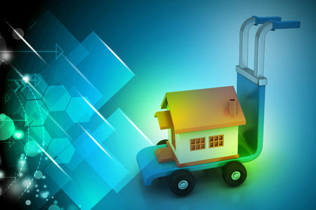 Trolley with house Stock Photo