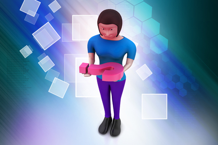 3d woman carrying the question mark Stock Photo