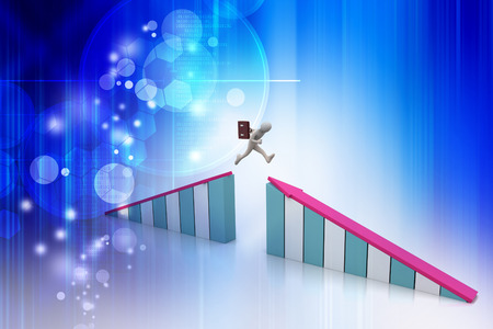 person jumping over graphic chart