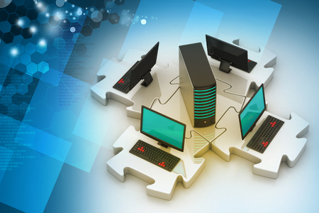 Laptop and server connect in puzzles Stock Photo