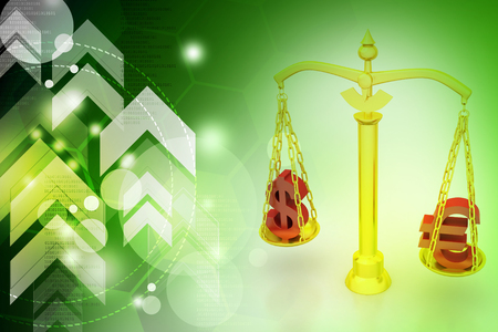 Dollar and euro sign balancing the scale