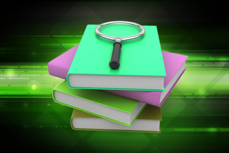Magnifying glass trying to find the right book Stock Photo